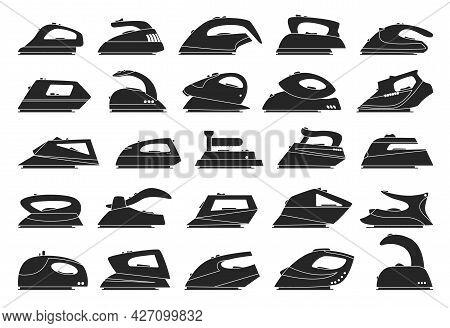 Electric Iron Isolated Black Set Icon. Vector Black Set Icon Vapor Press. Vector Illustration Electr