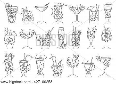 Summer Cocktail Vector Illustration On White Background. Vector Outline Set Icon Fresh Drink . Isola