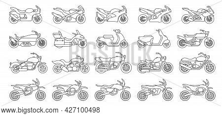Motorcycle Vector Outline Set Icon. Vector Illustration Motorbike On White Background. Isolated Outl