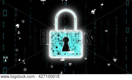 Visionary Cyber Security Encryption Technology To Protect Data Privacy . 3d Rendering Computer Graph