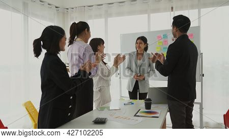 Businesswoman Proficiently Present Work Project Receive Celebrations From Team . Corporate Business