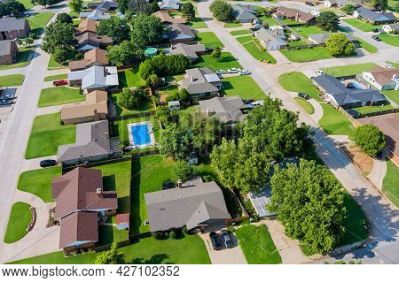 Aerial View Panorama Of A Clinton Small Town City Of Residential District At Suburban Development In