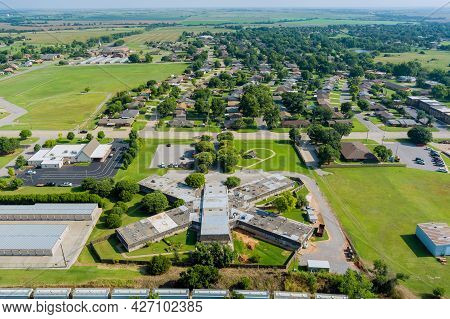 Aerial View Of Residential District At Suburban Development With A American Town Clinton Oklahoma Us