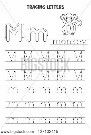 Trace Letters Of English Alphabet. Uppercase And Lowercase M. Handwriting Practice For Preschool Kid