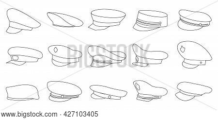 Military Cap Vector Outline Set Icon. Vector Illustration Headgear On White Background. Isolated Out