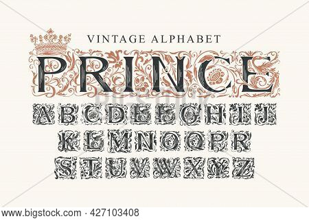 The Word Prince. Luxury Design Of Beautiful Ornate Font For Card, Invitation, Monogram, Label, Logo.