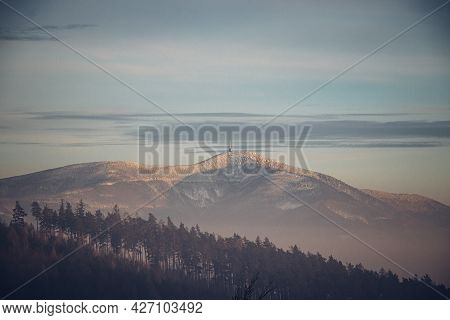 View Of The Most Famous Mountain In The Czech Republic, Lysa Hora, Located In The Beskydy Mountains