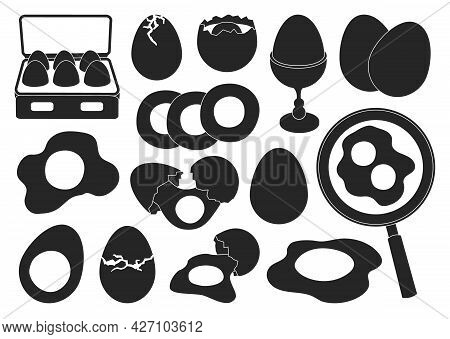 Chicken Egg Vector Black Set Icon. Vector Illustration Farm Poultry On White Background . Isolated B