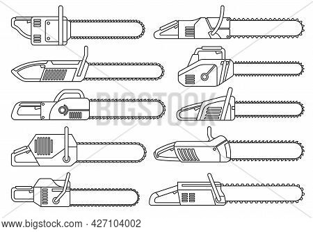 Chainsaw Of Chain Vector Outline Set Icon.vector Illustration Gasoline Saw On White Background . Iso