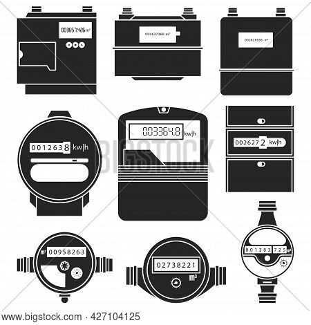 Electric Power, Gas, Water Meter Vector Black Set Icon. Vector Illustration Counter On White Backgro