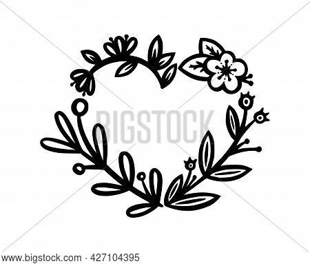 Heart Wreath For Invitations And Bullet Jourmals Decoration. Heart-shaped Wreath Divider Or Frame. D