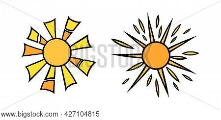 Handdrawn Yellow Suns Set. Colorful Shining Suns With Beams In Doodle Style. Black And White Vector