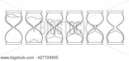 Hourglass Vector Outline Set Icon. Vector Illustration Sand Clock On White Background. Isolated Outl