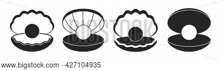 Pearl In Seashell Isolated Black Set Icon. Vector Illustration Jewelry Ball On White Background. Vec