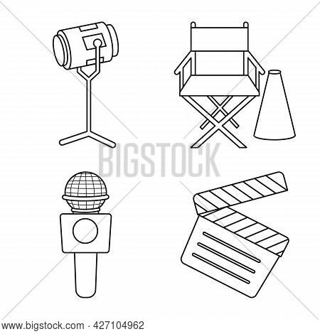 Isolated Object Of News And Studio Logo. Set Of News And Tv Stock Symbol For Web.