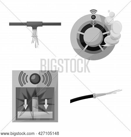Isolated Object Of Firefighters And Fire Sign. Collection Of Firefighters And Service Vector Icon Fo