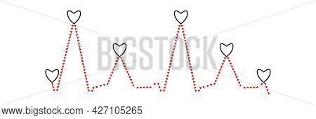 Cardiogram Line Consisting Of Small Red Hearts. Black Contoured Hearts On Peaks Of Cardiogram Graph.