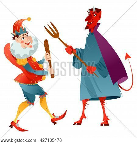 Traditional Puppet Show Featuring Mr. Punch. Punch And The Devil. Vector Illustration
