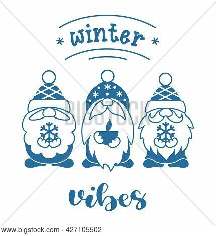 Winter Gnomes Vector Silhouette. Winter Vibes Sign.