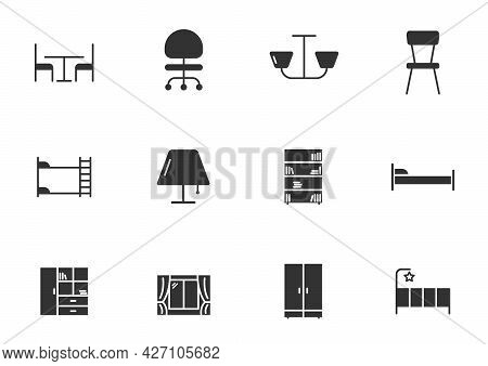 Furniture Glyph Vector Icons Isolated On White Background. Furniture Icon Set For Web, Mobile Apps,