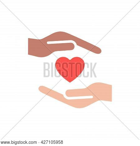 Heart With Hands Colorful Icon. Multicultural Human Assistance And Support Symbol. Voluntary Sign. S