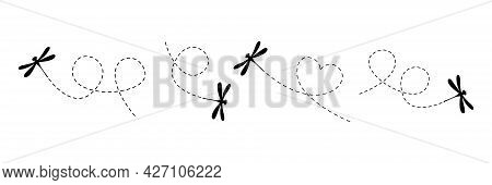 Dragonflies With Dotted Line Route Set. Black Dragonfly Silhouette Fling Collection. Vector Illustra