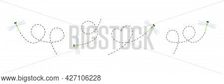 Cute Dragonflies With Dotted Line Route Set. Green Dragonfly Fling Collection. Vector Illustration I