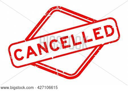 Grunge Red Cancelled Word Rubber Square Seal Stamp On White Background