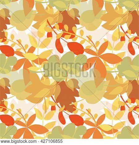 Autumn Leaves Seamless Colorful Pattern Art Design Element Season Specific Illustration For Web, For
