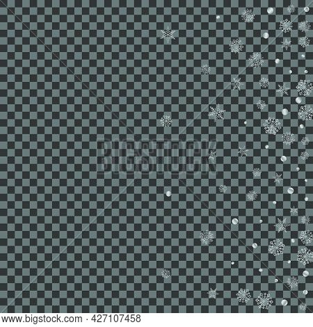 Luminous Flake Background Transparent Vector. Snowflake Garland Texture. Grey Confetti Frost. Silver