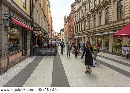 Stockholm, Sweden - 18 April 2016: View Of The Gamla Stan, Old Town In Capital City. Central Streets