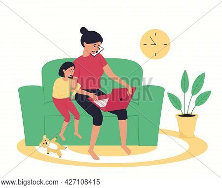A Woman Works At Home Using A Laptop, Talking On The Phone. The Girl Hugs Her Mother And Watches Her