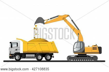Loading Bulk Building Materials With An Excavator Onto A Truck. Flat Vector Illustration.