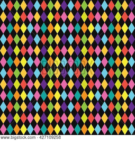 Colorful Funky Circus Style Diamond Pattern On Black Background Design Element