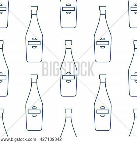 Martini Bottles Seamless Pattern. Line Art Style. Outline Image. Black And White Repeat Template. Pa