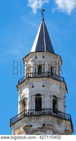 Leaning Tower Of Nevyansk In Summer Day. The Top And Tiers Of Tower In The Town Of Nevyansk In Sverd