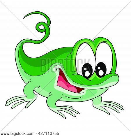 Cute Green Lizard Character, Cartoon Illustration, Isolated Object On White Background, Vector, Eps
