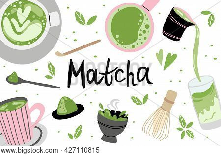 Matcha Background. Hand Drawn Traditional Japanese Drink, Powder And Spoon, Bamboo Whisk And Cup Wit