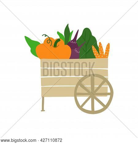 Box With Vegetables. Cart Full Of Vegetable Isolated On White Background. Fresh Organic Food From Lo
