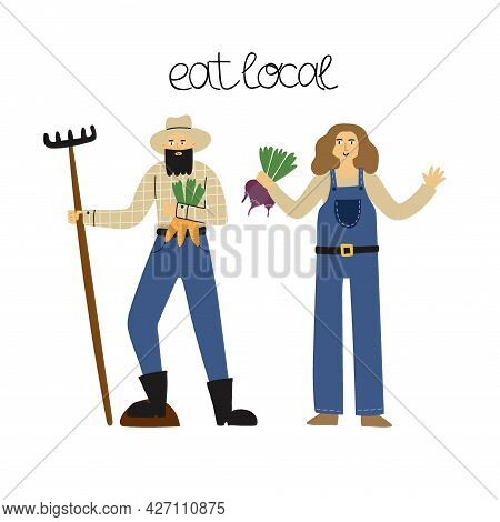 Farmers People And Harvest. Happy Male And Female Farmer With Vegetables, Local Organic Products, Ag
