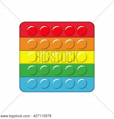 Pop It. Square Colorful Rainbow Silicone Antistress Relaxation Toy, Push Bubble, Kids Trendy Game. V