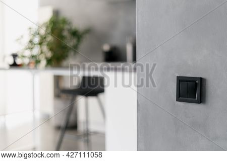Black Light Switch On Grey Wall In Modern Themed Kitchen Environment, Black Bar Stool, Various Home