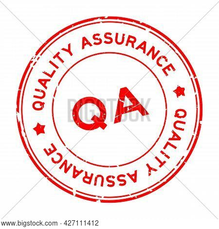 Grunge Red Qa Quality Assurance Word Round Rubber Seal Stamp On White Background