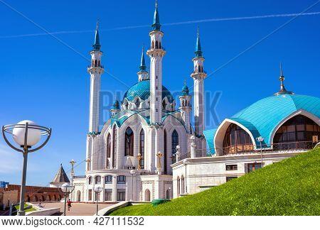 Kul Sharif Mosque In Kazan Kremlin, Tatarstan, Russia. It Is Famous Landmark Of Kazan. View Of Nice