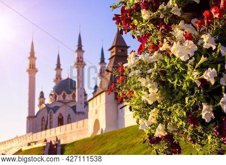 Kazan Kremlin In Summer, Tatarstan, Russia. It Is Top Tourist Attraction Of Kazan. Beautiful Scenic