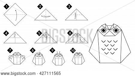 Step By Step How To Make Origami Owl Bird . Vector Monochrome Instructions Illustration. Black And W