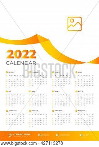 Calendar Of 2022. 2022 Wall Calendar Vector Design With Orange Color. Vector Of Calendar 2022. New Y