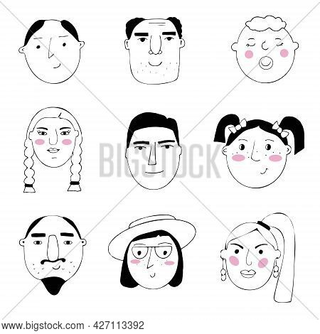 Vector Set Of Portraits Of People. Cartoon Funny Minimalistic Female And Male Characters. Drawings O