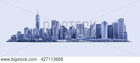 Skyline Panorama Of Downtown Financial District And The Lower Manhattan In New York City, Usa. Blue