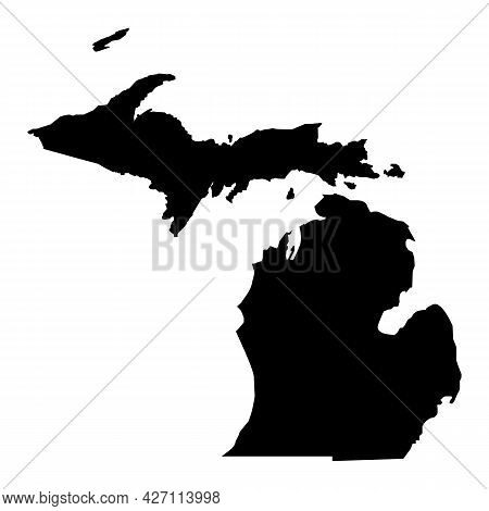 Michigan Map On White Background. Michigan Black State Sign. Michigan State Symbol. Flat Style.